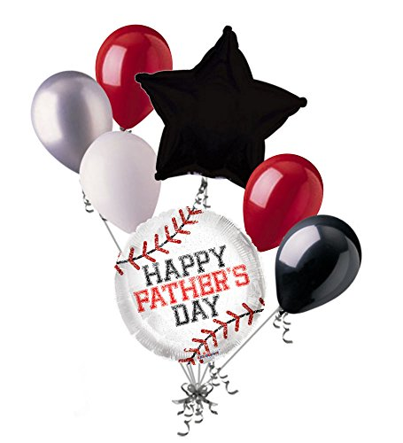 - Jeckaroonie Balloons 7 pc Baseball Happy Father's Day Balloon Bouquet Party Decoration Sports Dad