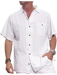 Cotton White Short-Sleeve Casual Lightweight Button Down Shirt