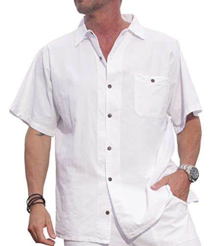 M&B USA Cotton White Short-Sleeve Casual Lightweight Button Down Shirt