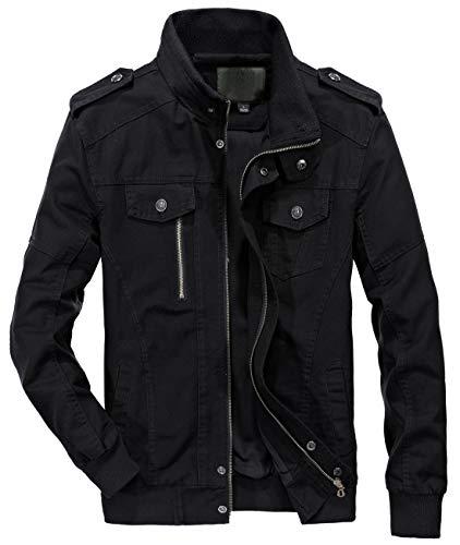 chouyatou Men's Casual Full-Zip Work Wear Military Cotton Lightweight Jacket Windbreaker (Large, 22Black) (Slim Military Jacket Men)