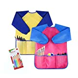 Pack of 2 Kids Art Smocks, Children Waterproof Artist Painting Aprons Long Sleeve with 3 Pockets for Age 2-6 Years by(Including Brush Set)