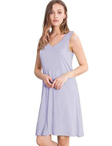 GYS Womens Bamboo Viscose Sleeveless V Neck Nightgown (L, Taro Purple)