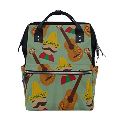 Guitar Musical Instrument Large Capacity Diaper Bags Mummy Backpack Multi Functions Nappy Nursing Bag Tote Handbag for Children Baby Care Travel Daily Women -