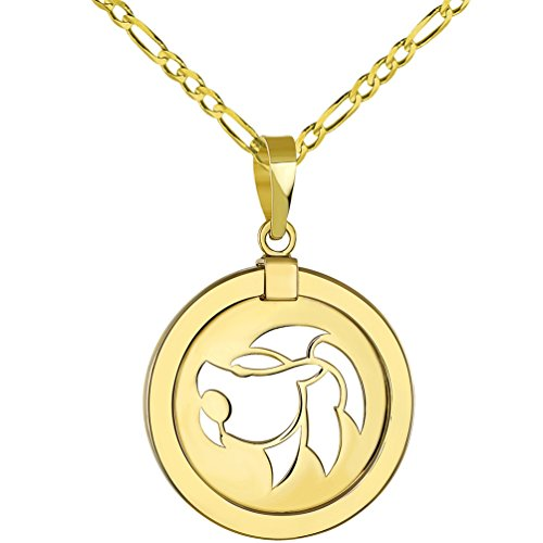 14K Yellow Gold Reversible Round Lion Leo Zodiac Sign Pendant with Figaro Chain Necklace, 16""