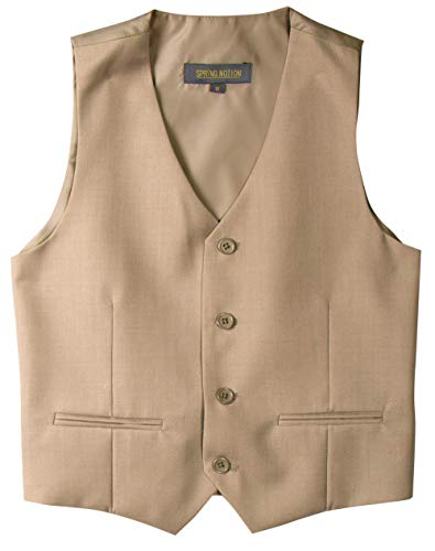 Spring Notion Big Boys' Two Button Suit 10 Khaki Vest