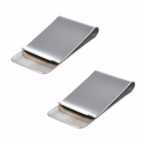 CJESLNA Pack of 2 Silver Stainless Steel Slim Money Clip (Magic Money Clip)