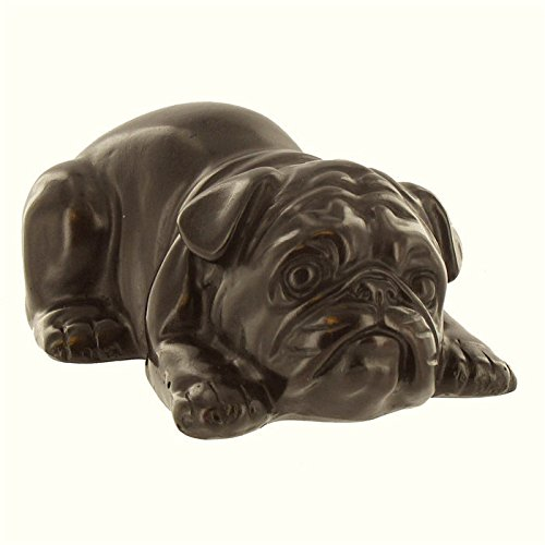 Coconut Grove Galleria Dark Brown Lying Bull Dog Resin Figurine Table Top Piece Paperweight