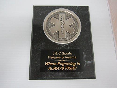 Black Marble Award Plaque - EMS EMT Paramedic Award Silver Plaque 8