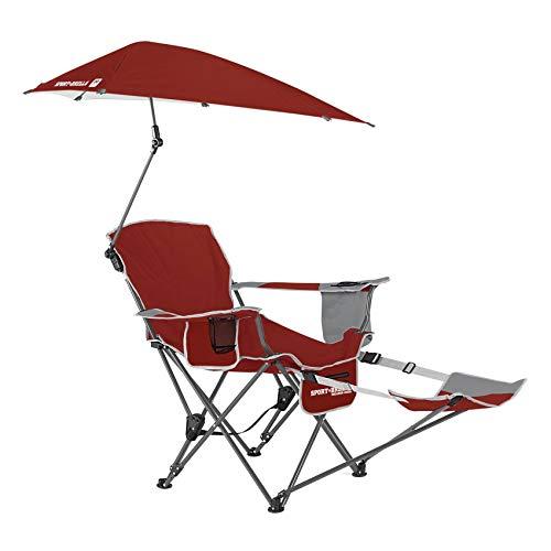 Sport Brella Portable Sun Shelter Umbrella Recliner Folding Chair, Red (2 Pack)