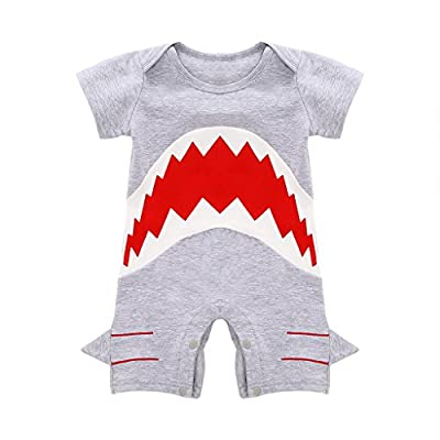MIOIM Cute Infant Baby Boys Shark Short Sleeve Bodysuit Romper Jumpsuit Onesie