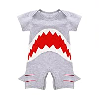 MIOIM Cute Infant Baby Boys Shark Short Sleeve Bodysuit Romper Jumpsuit Onesi...