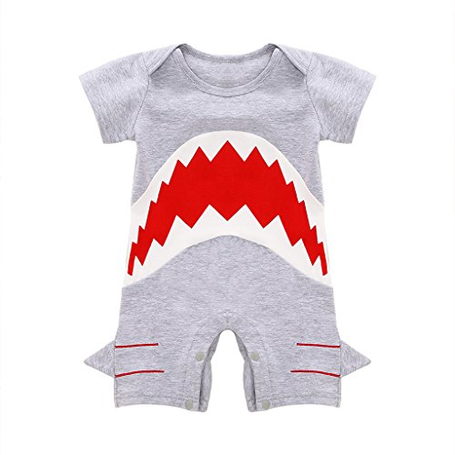MIOIM Cute Infant Baby Boys Shark Short Sleeve Bodysuit Romper Jumpsuit Onesie (Leisure Suits For Sale)