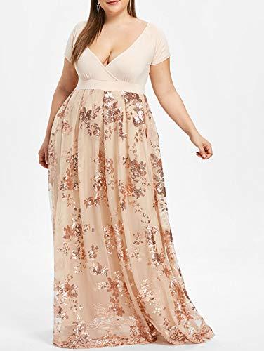 (Leomodo Plus Size Sequined Floral Maxi Formal)