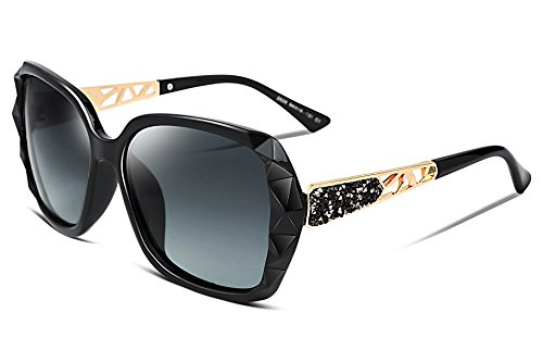 FEISEDY Classic Polarized Women Sunglasses Sparkling Composite Frame - Rhinestone Temple Sunglasses