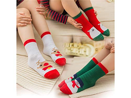 Junson Xmas Gift 3 Pairs Children Cotton Socks Kids Autumn and Winter Christmas Terry Mid Tube Socks(Multicolor) for Xmas