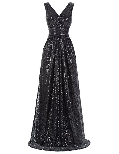 Kate Kasin Women's Long Sequined Bridesmaid Dresses Black Slim Fittted Party Dress Size US12 KK199-4