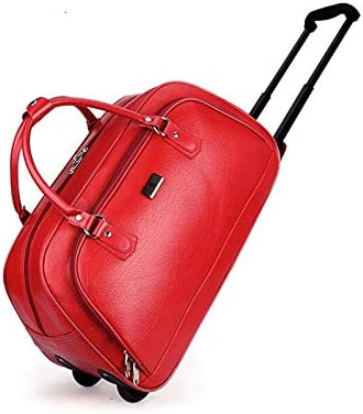 Color : Red Minmin-lgx Trolley Bag pu Leather Large Capacity Male Travel Bag New Tide Trolley Bag Female Tow Bag Mens Business Portable Boarding Bag