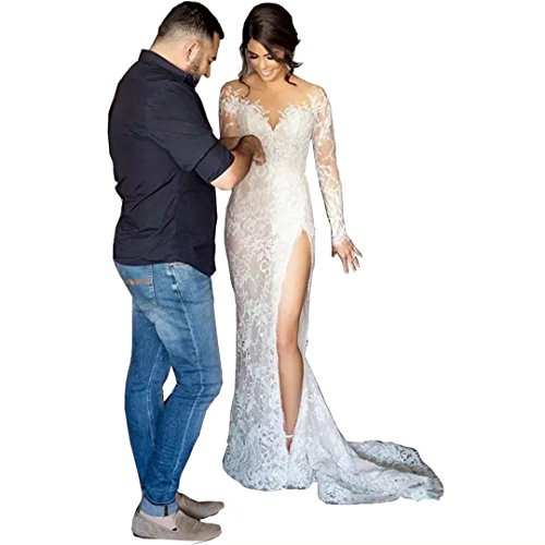 Chady 2017 High Slit Lace Mermaid Wedding Dresses With Detachable Skirt Satin Ball Gown Wedding Dresses Long Sleeves