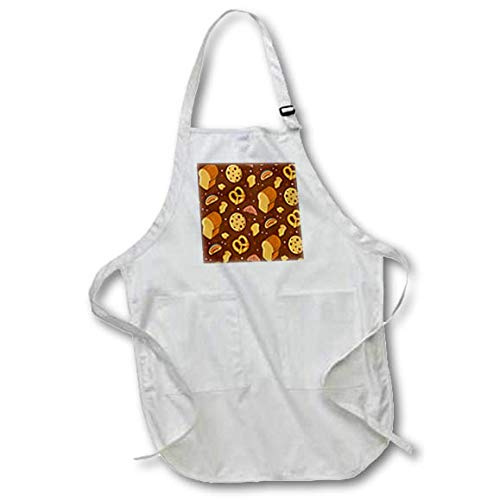 3dRose Sven Herkenrath Food - Pattern Graphic with Bread and Pretzel Food - Medium Length Apron with Pouch Pockets 22w x 24l (apr_310591_2)
