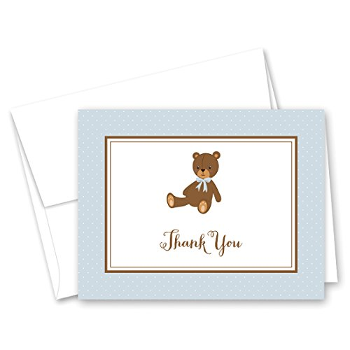50 Cnt Lovely Teddy Bear Blue Baby Thank You Cards