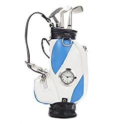 Lily's Home Novelty Golf Club Ballpoint Pens In Mini Golf Bag, Office Desk Pen Holder with a Clock, 5 Piece Set