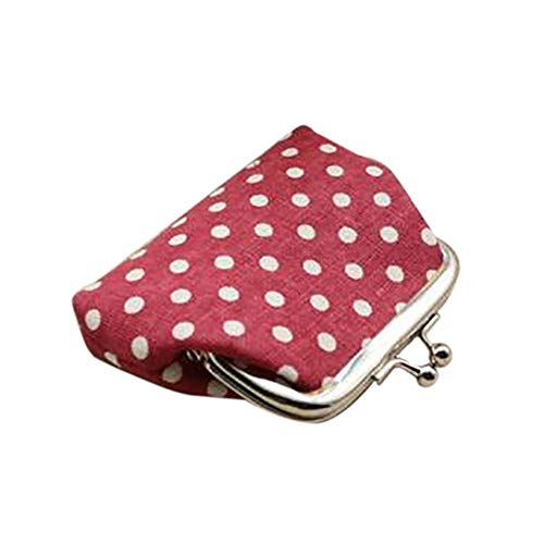 giveyoulucky Women Girls Coin Purse,Hasp Polka Dots Style Linen Clutch Purse Credit Card Holder Red
