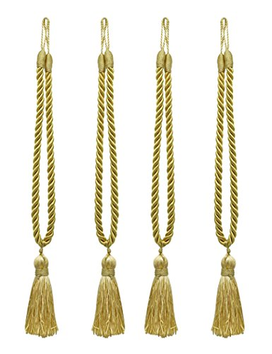 Home Queen Decorative Tassel Rope Tie Backs for Window Curtain, Hand Knitting Buckle Cord Drapery Tieback, Set of 4, Gold (Tassel Tie Back Decorative)