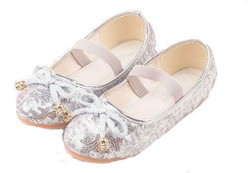 Girls' Princess Cute Sparkle Fancy Dress up Bow Party Dancing Cosplay Shoes(silver-36/4 M US Big Kid) -