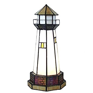 """Bieye L10626 Lighthouse Tiffany Style Stained Glass Accent Table Lamp Night Light, 6""""W x 12""""H"""