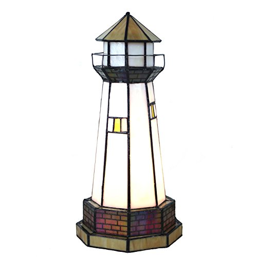 Bieye L10626 12 inch Lighthouse Tiffany Style Stained Glass Accent Table Lamp, Night Light ()