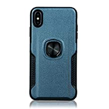 for iphone XS MAX Case with Ring Holder,QFFUN Soft Silicone + Hard Plastic Hybrid Double Layer Tough Armor Defender Case with 360 Degree Rotating Metal Kickstand,Shockproof Anti-scratch Protective Back Cover and Screen Protector for iphone XS MAX - Navy