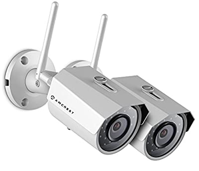 2-Pack Amcrest ProHD Outdoor 3-Megapixel (2304 x 1296P) WiFi Wireless IP Security Bullet Camera - IP67 Weatherproof, 3MP (1080P/1296P), IP3M-943 from Amcrest