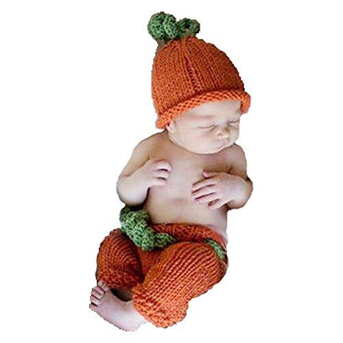 Knit Pumpkin (CX-Queen Baby Photography Prop Crochet Knit Pumpkin Hat Pants)