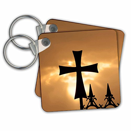 Danita Delimont - Religion - A wrought iron cross on a fence in Syria at sunrise. - Key Chains - set of 2 Key Chains (Multi Chain Wrought Iron)