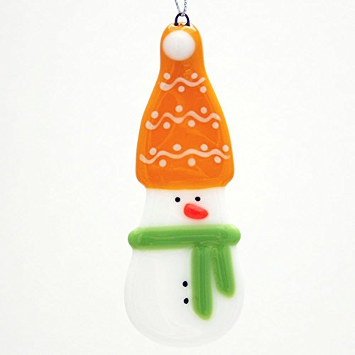 Glassworks Northwest - Snowman with the Yellow Hat and Lime Scarf - Fused Glass Ornament