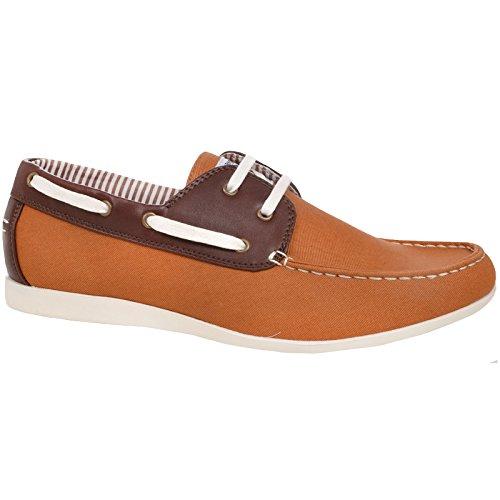 Lambretta Mens Rhode Island Lightweight Lace Up Canvas Boat Shoes Tan/Brown GKACk