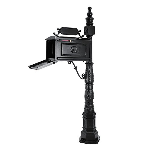 Post Mount Mailbox with Post, Heavy Duty Cast Aluminum Decorative Mailbox for Outdoor, Residential (Standard Cast Aluminum Mailbox Post)