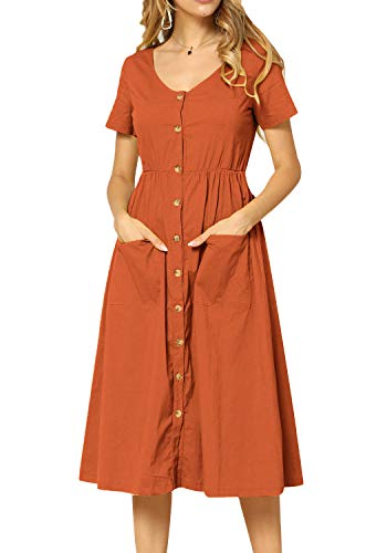 - Women Short Sleeve Casual Swing Pleated Midi A Line Tunic Dress Orange 12