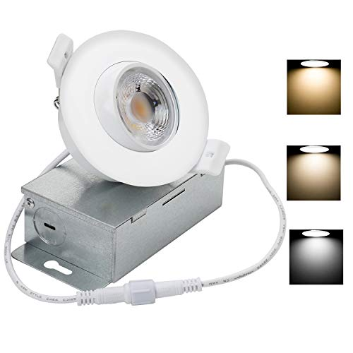 NickLED DIMMABLE 3 inches Gimbal LED Recessed Downlight with Junction Box 8W 3000K 4000K 5000K 3 Colors Changing with Memory Function-Turn Off after 3S Turn on Again Will be Same Color as The Previous