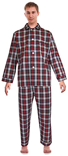 RK Classical Sleepwear Mens Broadcloth Woven Pajama Set, Size Small, Red, Plaid (0156) by Robes King (Image #3)