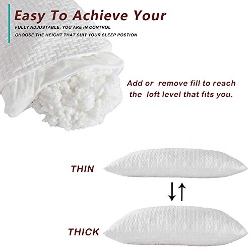 Kuzmaly Shredded Memory Foam Pillows for Sleeping 2 Pack Adjustable for Side and Back Sleepers, Washable Removable Derived Rayon Bamboo Cooling Cover Firm Breathable Plush (Standard)