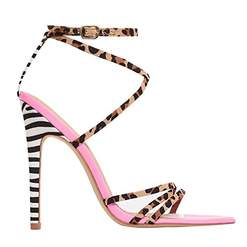 OLCHEE Women's Fashion Strappy High Heel Sandals - Pointy Open Toe Cross-Strap Stilettos - Leopard Straps and Zebra Heels, Suede and Patent Leather Size 7