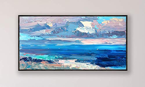 """Abstract Painting on Canvas 55"""", Original Art, Abstract Ocean Painting, Sky Painting, Sea Painting, Large Wall Art, Living Room Decor, Gifts"""
