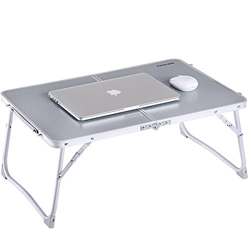 Laptop Table for Bed, Superjare Portable Outdoor Camping Table, Breakfast Serving Bed Tray with Legs - Silver