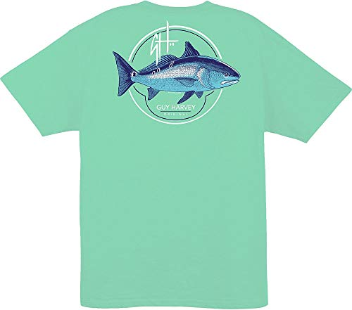 Guy Harvey Men's Oracle S/S Redfish T-Shirt (Mint, Large)