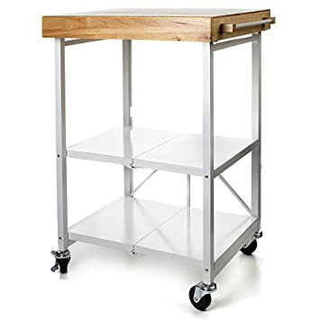 Origami Folding Kitchen Island Cart With Casters   White