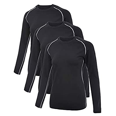 SILKWORLD Women's Compression Shirts Dry Fit Athletic Running Long-Sleeved Sports Workout Baselayer at Women's Clothing store