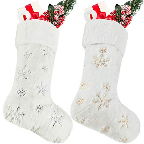 2 Pieces Christmas Stocking Faux Fur Stocking Snowflake Stocking Fireplace Hanging Stocking Christmas Stocking Gift Bags for Xmas Family Party Decoration (Faux Fur 3, 22 Inch)