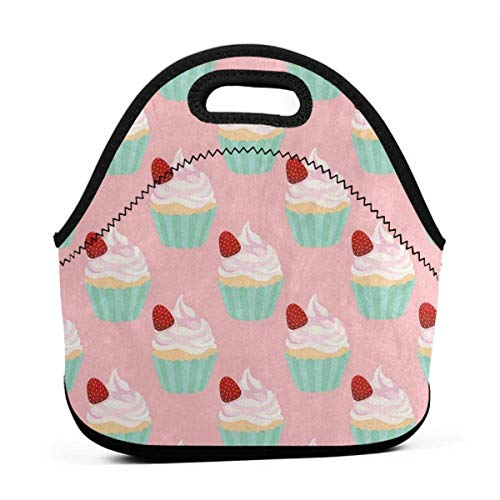 Portable Lunch Bag Tote Fashion Strawberry Cupcake Neoprene Lunch Handbag Food Zipper Storage Lunch Box For Men Women Kids