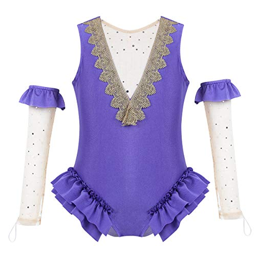 inhzoy Kids Girls' Greatest-Showman Wheeler Costumes Cape Top with Skirt and Wristband for Halloween Role Play Party Lavender 1 -